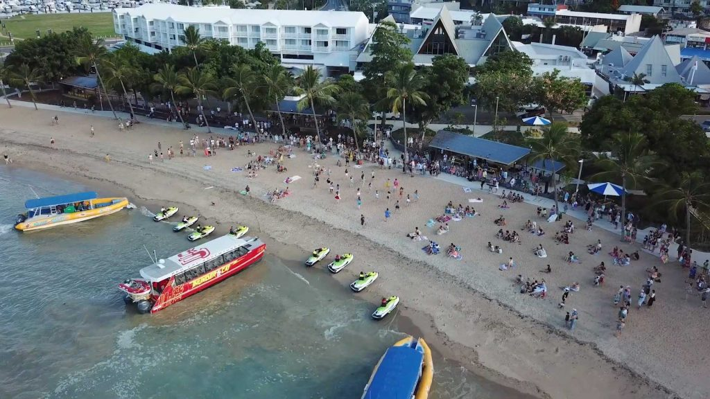aerial picture of the 2020 Airlie Beach Flash Mob Wedding