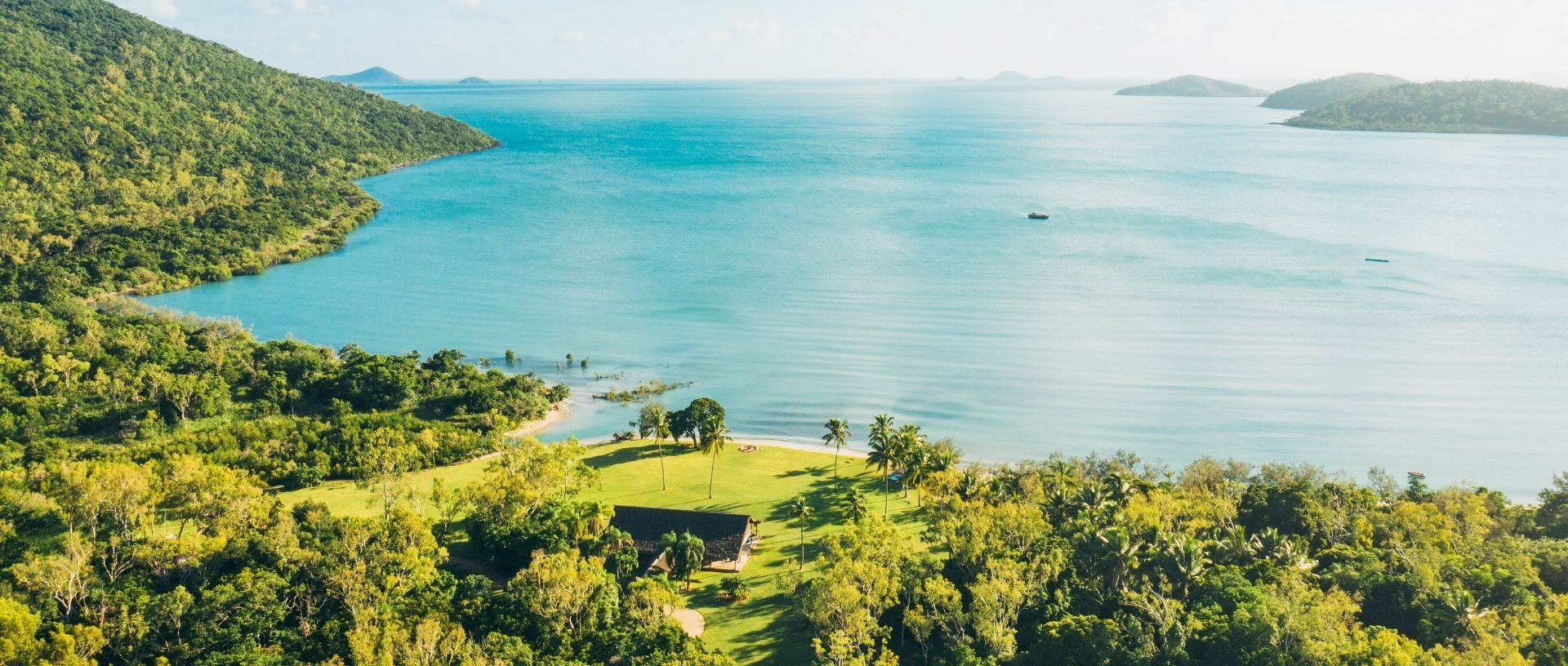 aerial image of Paradise Cove Resort in the Whitsundays looking out towards Coral Sea