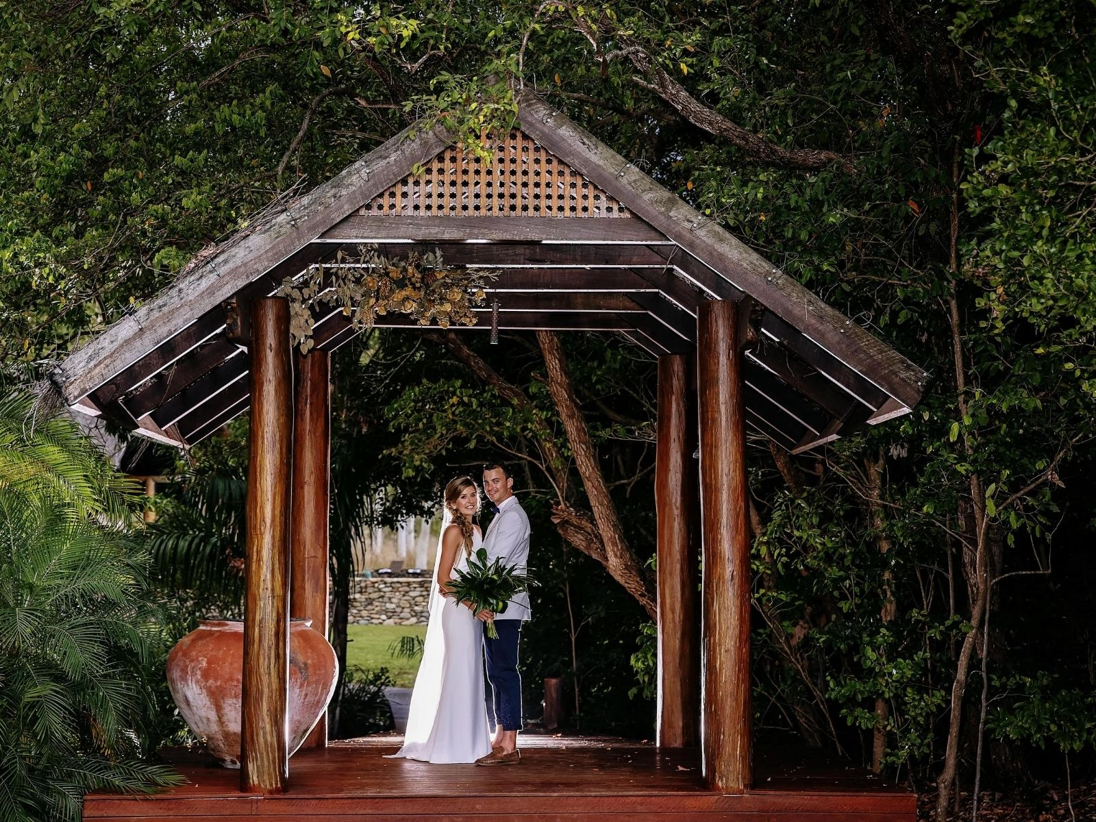 Bride and Groom at Paradise Cove Resort