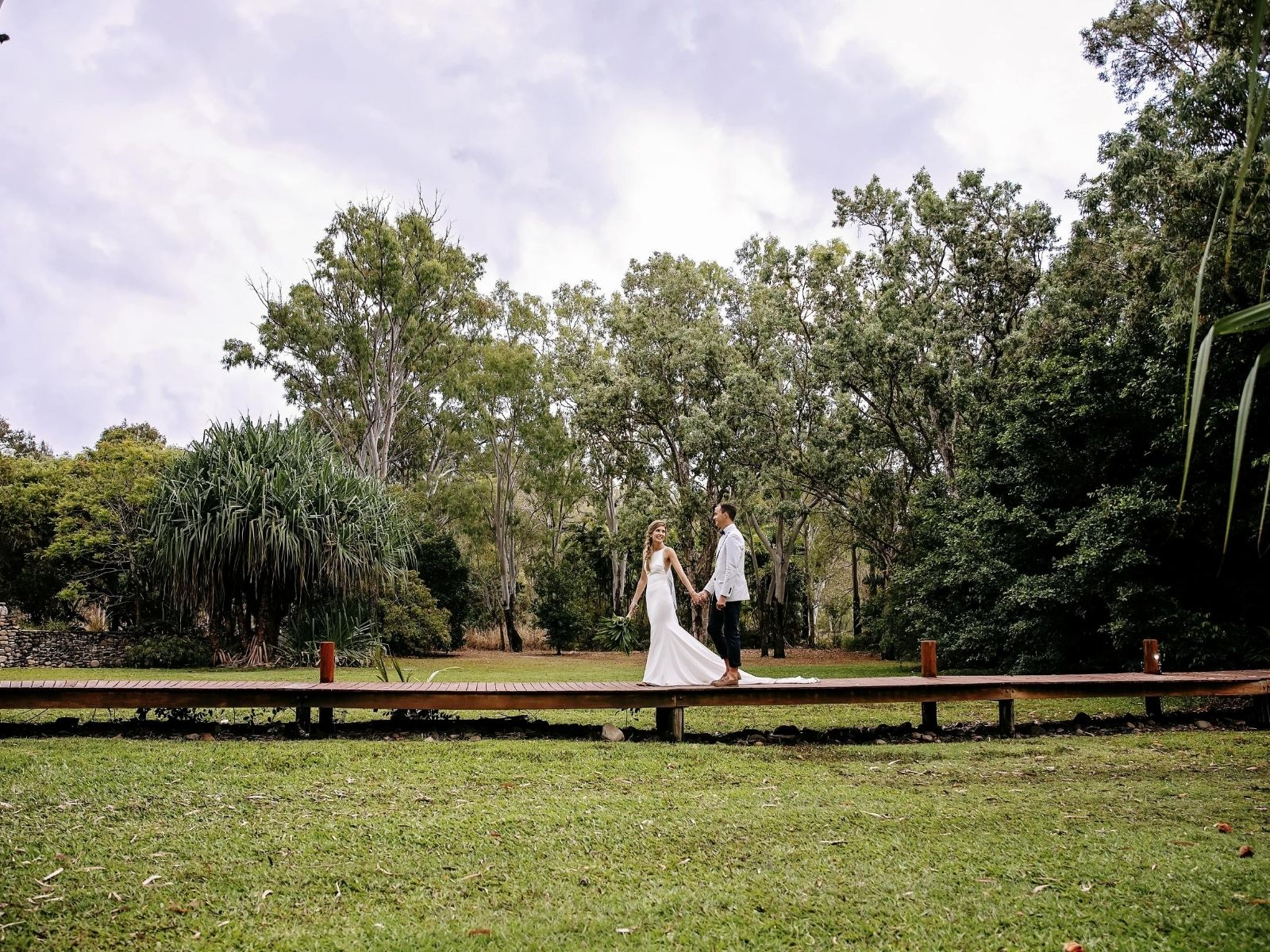 Bride and Groom on photo tour at Paradise Cove Resort