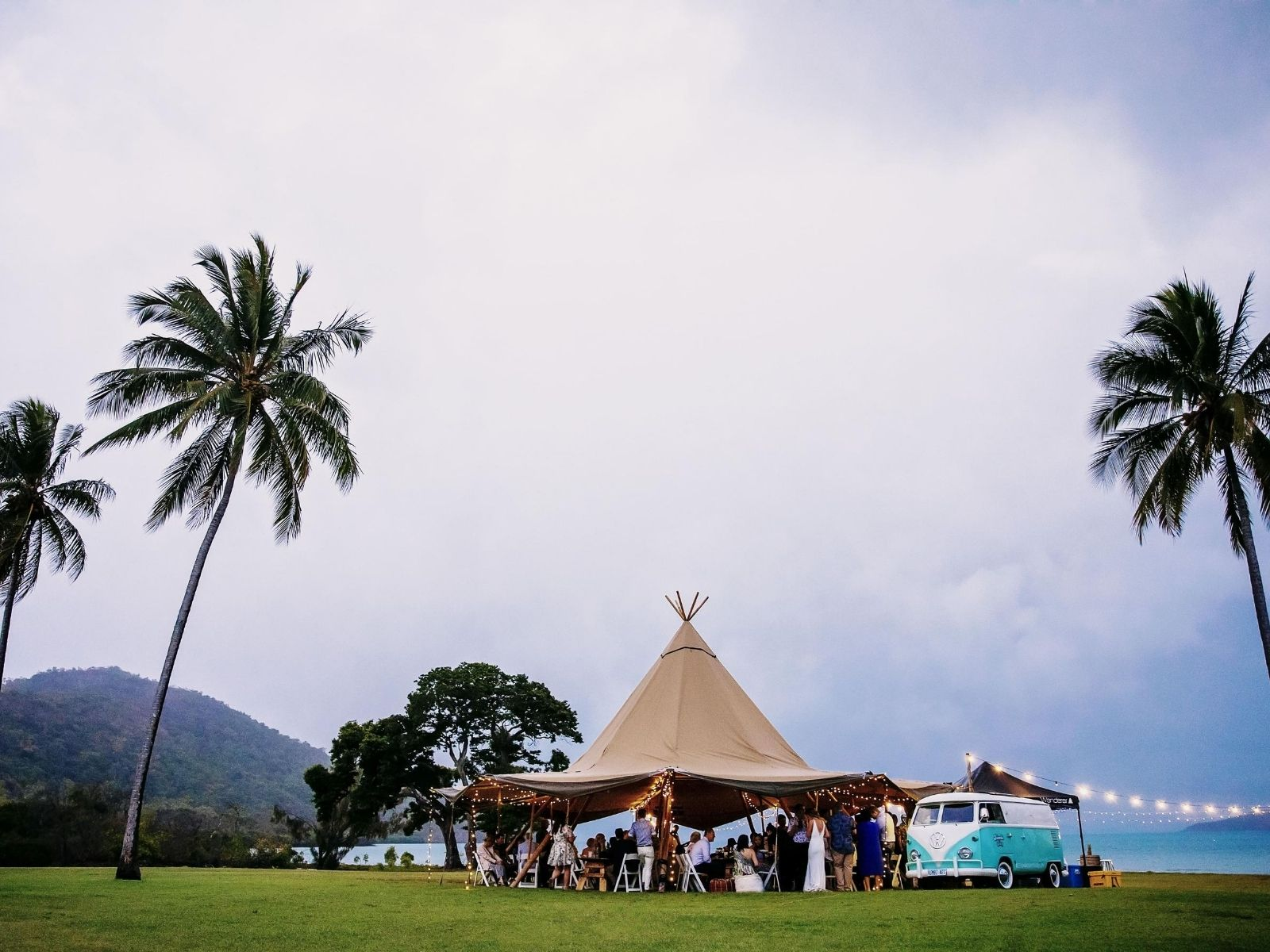 Wedding Reception bohemian at Paradise Cove Resort with teepee and Kombi
