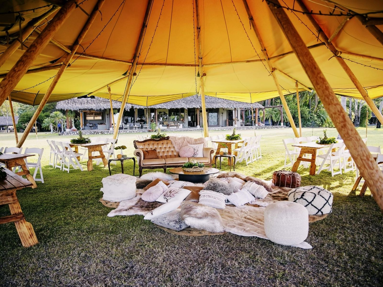 Wedding Reception bohemian at Paradise Cove Resort