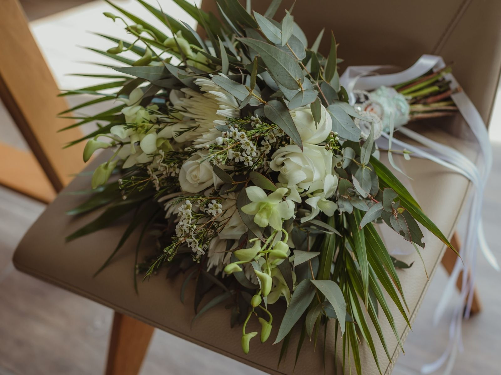 Bouquet of flowers on a chair